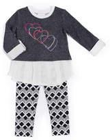 Little Lass Heart Snit Leggings Set - Preschool Girls 4-6x