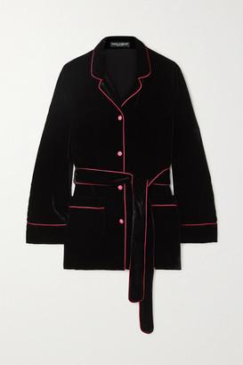 Dolce & Gabbana Belted Piped Satin-trimmed Velvet Shirt - Black