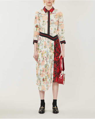Claudie Pierlot Print-panelled crepe midi shirt dress