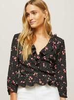 Miss Selfridge Cherry frill wrap blouse