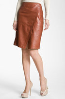 Nordstrom Collection Faux Wrap Leather Skirt