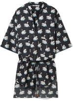 Stella McCartney Printed Cotton And Silk-blend Coverup - Black