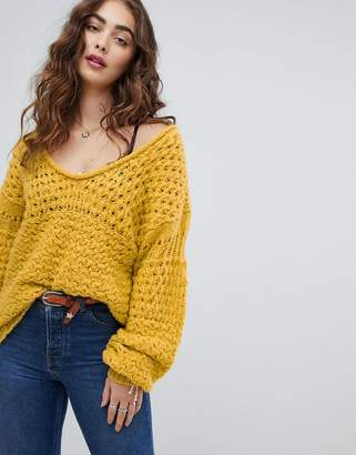 Free People Crashing Waves chunky jumper-Yellow