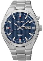 Seiko Smy149p1 Kinetic Bracelet Strap Watch, Silver/blue