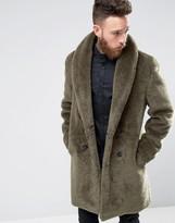 Asos Faux Shearling Teddy Overcoat in Khaki