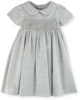 Luli & Me Smock Dress w/ Flower Detail, Size 12-24 Months