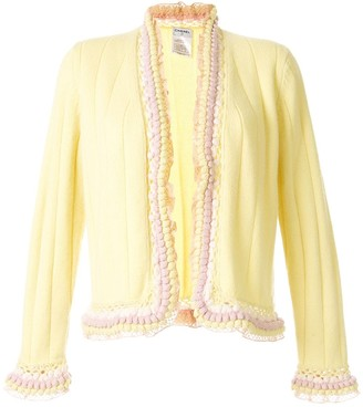 Chanel Pre Owned Ruffle Trim Cardigan