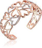 Amazon Collection 18k Gold Over Sterling Silver Diamond Accent Hearts Cuff Bracelet