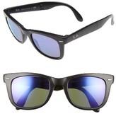 Ray-Ban Men's 'Folding Wayfarer' 50Mm Sunglasses - Matte Black / Purple Mirror