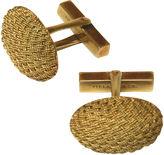 One Kings Lane Vintage Tiffany 18KT Gold Basketweave Cufflinks