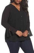 Foxcroft Plus Size Women's Ali Chiffon Blouse With Tank