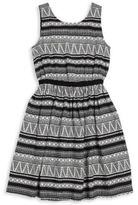 DKNY Girl's Printed Monochrome Dress