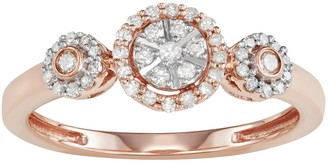 10k Rose Gold 1/4 Carat T.W. Diamond Halo Engagement Ring