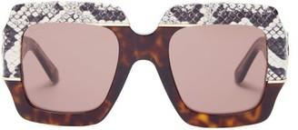 Gucci Contrast-panel Square Acetate Sunglasses - Womens - Grey Multi