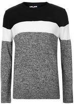 Lee Cooper Mens Fashion Panel Knit Jumper Sweater Pullover Long Sleeve Crew Neck