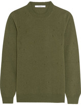 Givenchy Distressed Sweater In Army-green Cashmere - Army green