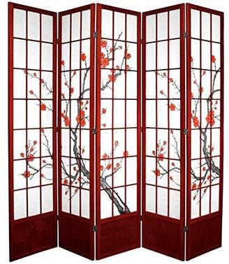 Oriental Furniture 7 ft. Tall Cherry Blossom Shoji Screen - - 5 Panels