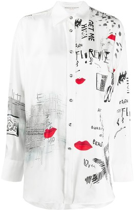 Ermanno Scervino Mix-Print Satin Shirt
