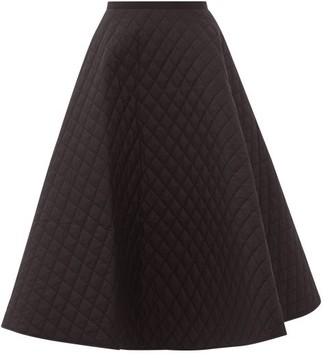 Lee Mathews Olive Quilted Cotton-poplin Midi Skirt - Womens - Black