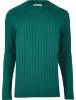 River Island MensDark green chunky ribbed muscle fit top