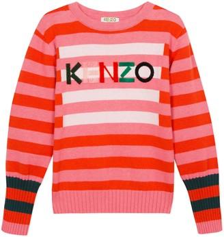 Kenzo Stripe Logo Cotton & Wool Sweater