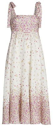 Zimmermann Carnaby Tie-Strap Floral Midi Dress