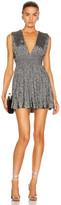 Saint Laurent V Neck Mini Dress in Black & Silver | FWRD