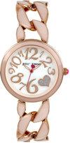 Betsey Johnson Women's Rose Gold-Tone Stainless Steel & Blush Epoxy Link Bracelet Watch 39mm BJ00329-06