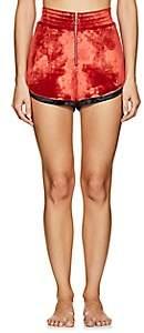 Fleur Du Mal Women's Back-Zip Velvet Shorts - Red
