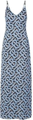 Burberry Monogram-print silk-satin slip dress