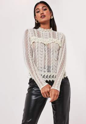 Missguided Cream Victoriana Lace Blouse