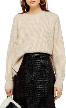 Topshop Zip Detail Waffle Knit Sweater