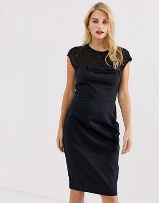 French Connection Hettie jewel embellished capped sleeve dress-Black