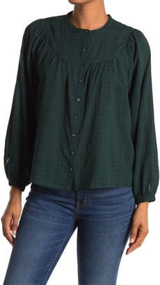 Madewell Plaid Balloon Sleeve Peasant Top