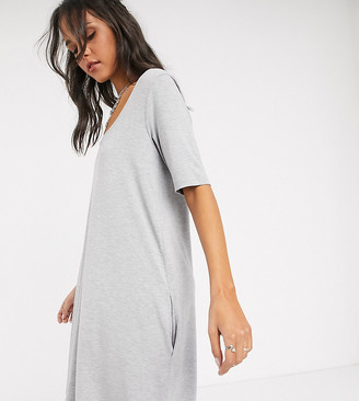 Asos Tall ASOS DESIGN Tall Exclusive swing t-shirt dress with concealed pockets in gray marl