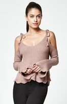 La Hearts Tie Strap Cold Shoulder Sweater