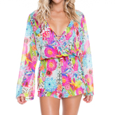 Luli Fama Paraiso Wrap Front Long Sleeve Romper In Multi-Color (L48894L)