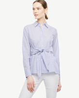 Ann Taylor Tall Striped Cinch-Waist Poplin Top