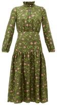 Borgo de Nor Eugenia Carnation-print Silk Midi Dress - Womens - Khaki Multi