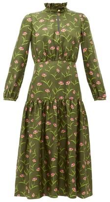 Borgo de Nor Eugenia Carnation Print Silk Midi Dress - Womens - Khaki Multi