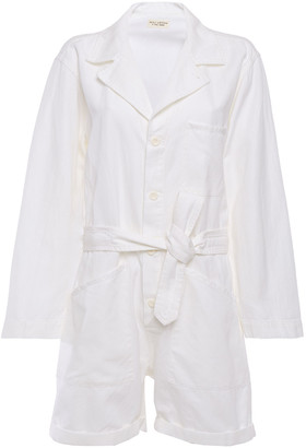 Nili Lotan Ariana Tie-front Cotton And Linen-blend Twill Playsuit