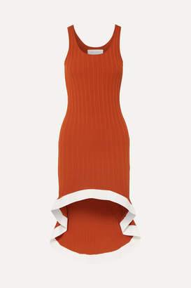 Esteban Cortazar Asymmetric Ribbed-knit Dress - Orange