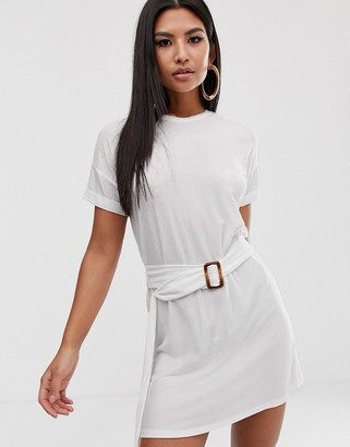 Asos Design DESIGN rolled sleeve rib t-shirt dress with faux tortoiseshell belt-White