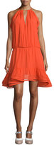 Monic Sleeveless Silk A-Line Dress, Red-Orange