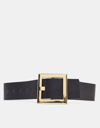 Accessorize oversized square buckle waist belt in black