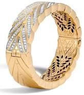 John Hardy Modern Chain Large 18K Gold Bangle with Diamonds