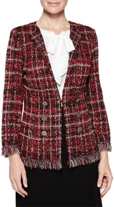 Misook Tweed Textured Plaid Jacket with Fringe Trim
