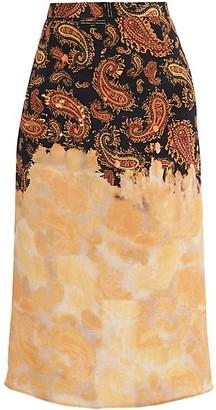 Rokh Paisley & Bleached Print Silk Midi Skirt