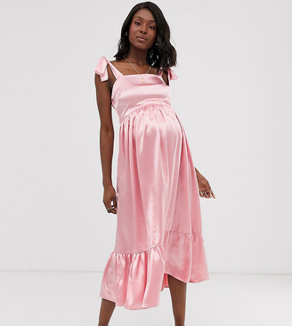 Wild Honey Maternity tie shoulder maxi dress with hammered satin