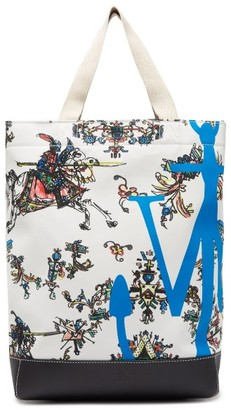 J.W.Anderson Camelot Logo-print Canvas And Leather Tote Bag - Womens - White Multi